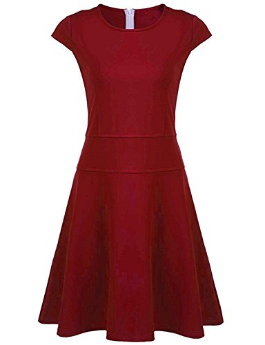 Germo.jin Elegant Women's A-line Cap Sleeve Paneled Prom Party Fit and Flare Dress (Red/S) (Great Gatsby Themed Dress Up)