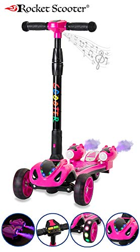 - The Original Rocket Scooter, Kids Kick Scooter, Music, 3 Colors Lighted Wheels, Spray Lights, Sturdy Steering Handlebar, Stable Board, Adjustable Height & Foldable Design (Pink)