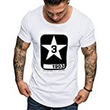 Casual Tops,Summer Men's Fashion Casual Color Round O-Neck Print Short Sleeve Top Blouse,White,M