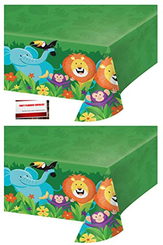 - (2 Pack) Jungle Forest Animals Safari Lion Elephant Monkey Birthday Plastic Table Cover 54 X 102 Inches (Plus Party Planning Checklist by Mikes Super Store)