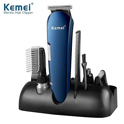 Kemei 5 in 1 Rechargeable Hair Trimmer Titanium Hair Clipper