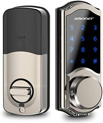 [2020 New]Smart Door Lock, SMONET Smart Keypad Deadbolt Lock Bluetooth Keyless, Touchscreen Enable Physical Keys, Auto Lock, Remotely Share,Send eKey,Free APP Control for Home, Hotel, Apartment,Silver