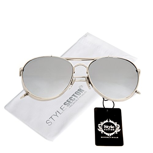 THICK FRAME AVIATOR SUNGLASSES ( Mirrored Silver Lens - Aviator Sunglasses Thick