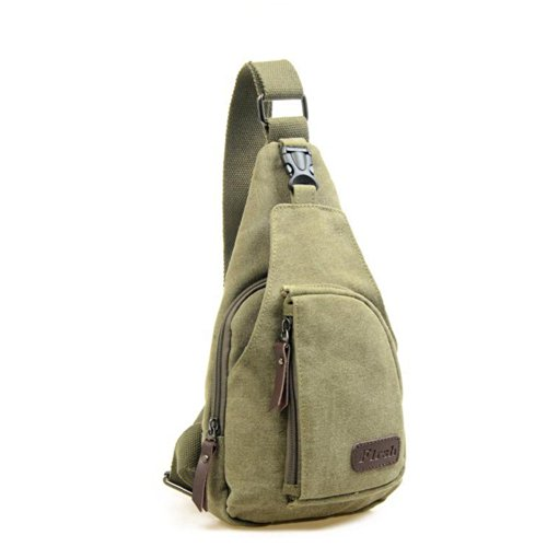 Foxnovo Cool Men''s Outdoor Sports Casual Canvas Unbalance Backpack Shoulder Bag Crossbody Sling Chest Bag (Army Green, Large)