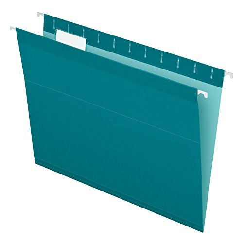 Pendaflex Reinforced Hanging File Folders, Letter Size, Teal, 1/5 Cut, 25/BX (4152 1/5 TEA)