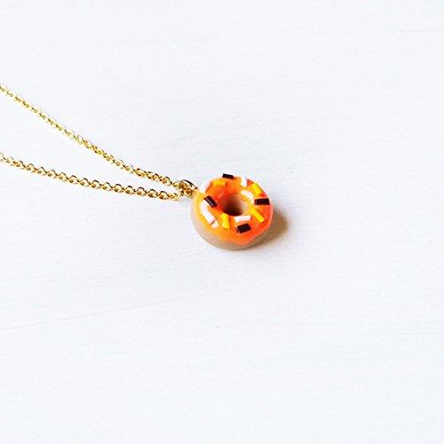 Elfi Handmade Cute Pumpkin Doughnut Necklace, Dessert Food