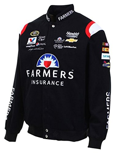 2015 Kasey Kahne Farmers Insurance Mens Black Twill Nascar Jacket by JH Design (L)