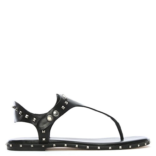 Pelle Borchie Toe Mavor In Post Black Leather Nera Daniel Con Sandali xtwgYAqWS