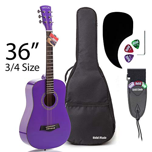 3/4 Size (36 Inch) Acoustic Guitar Bundle Junior/Travel Series by Hola! Music with D'Addario EXP16 Steel Strings, Padded Gig Bag, Guitar Strap and Picks, Model HG-36PP, Glossy Purple