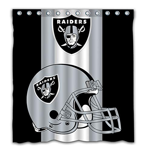 Potteroy Oakland Raiders Team Simple Design Shower Curtain Waterproof Polyester Fabric 66x72 Inches