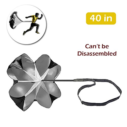 TRIWONDER 40/56 inch Speed Training Resistance Parachute Running Sprint Chute for Soccer Football Sport Power Speed Training & Fitness Core Strength Training (Black - 40in)