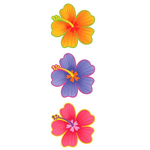 Hawaiian Summer Luau Party Hibiscus Cutout Wall Decoration, 1 Pieces, Made from Paper, Multi Color, 13
