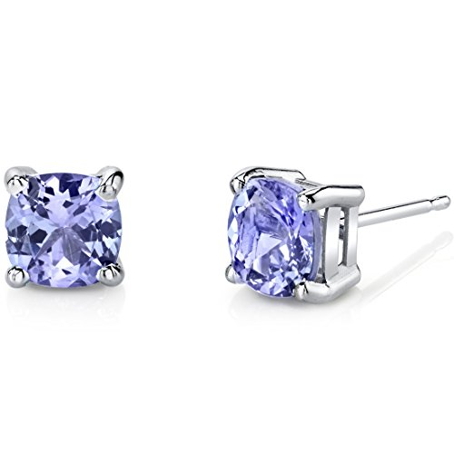 White Ring Gold Jewelry Tanzanite (14 Karat White Gold Cushion Cut 2.00 Carats Tanzanite Stud Earrings)