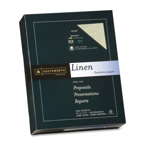 Wholesale CASE of 5 - Southworth 24lb Ivory Linen Business Paper-Fine Linen Paper, 24Lb, 8-1/2