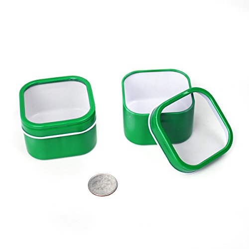 Mimi Pack 4 oz Square Cube Tin Cans with Clear Window Slip Cover Lid for Favors, Spices, Storage, Candies, Mints, Candles and Crafts (24, Green)
