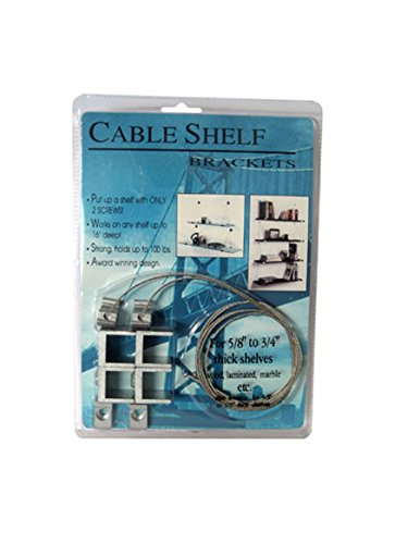 (CRL Aluminum Finish Cable Shelf Bracket System for 5/8
