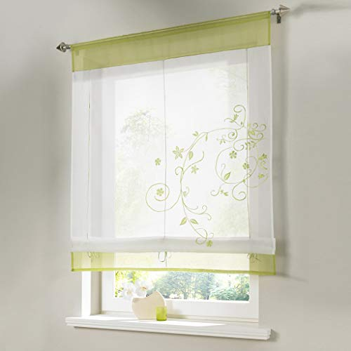 charmsamx Window Roller Blinds Semi Blockout Window Treatments Texture Wave Floral Print Window Roller Shades Privacy Light Control Sheer Curtains for Home Restaurant Office Green