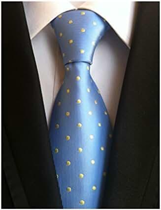 MENDENG Classic Blue Yellow Polka Dot Ties Jacquard Woven Silk Men's Tie Necktie
