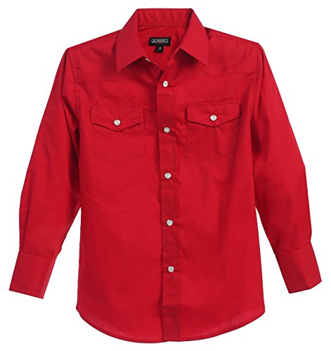 (Gioberti Big Boys Casual Western Solid Long Sleeve Shirt with Pearl Snaps, Red, Size 16 )