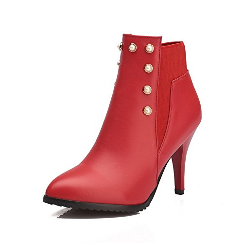 Allhqfashion Women's Low-Top Blend Materials High-Heels Closed Toe Boots Red-pu