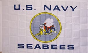New Large 3Ftx5Ft White Seabees Navy Store Banner Flag from Neighboryou