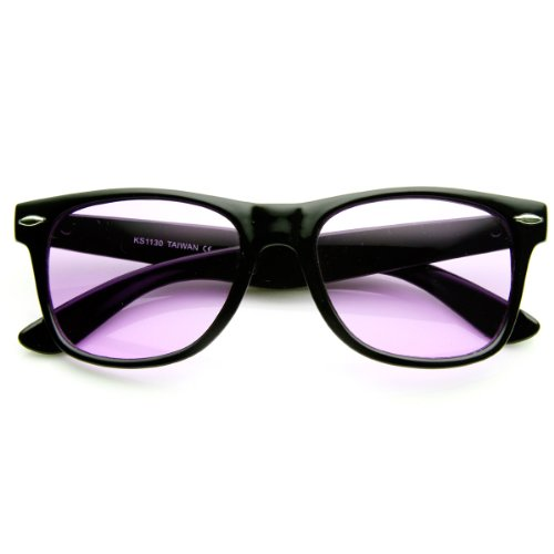 zeroUV - Rare Color Tinted Lens Classic Horn Rimmed Sunglasses - Sun Purple Glass