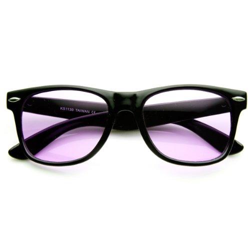 zeroUV - Rare Color Tinted Lens Classic Horn Rimmed Sunglasses - Glass Sun Purple