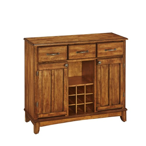 Asian Style Furniture - Home Styles 5100-0066 Buffet of Buffets Cottage Oak Wood Top Buffet Server, Cottage Oak Finish, 41-3/4-Inch