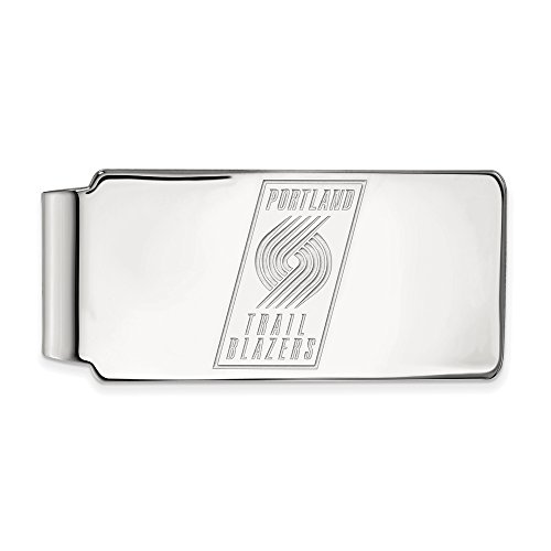 NBA Portland Trail Blazers Money Clip in Rhodium Plated Sterling Silver by LogoArt
