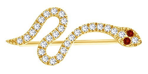 Snake Ear Crawler Earrings In 14k Gold Over Sterling Silver Round Cut Cubic Zirconia