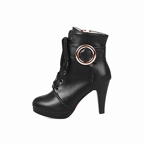 Absatz und Schwarz mit Damen hohem Absatz Schnürschuhe in Mee hohem Shoes 4OTxFX