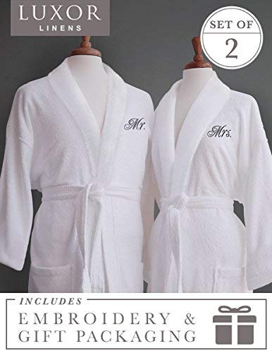Luxor Linens Couple's Terry Cloth Bathrobe Set- Unisex/One Size Fits Most - Luxurious, Soft, Plush, Elegant Script Embroidery San Marco - Mr. & Mrs. with Gift Packaging