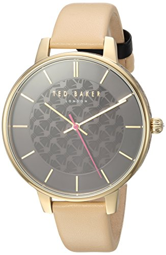 Ted Baker Women's 'KATE' Quartz Stainless Steel and Leather Casual Watch, Color Beige (Model: TEC0025015)