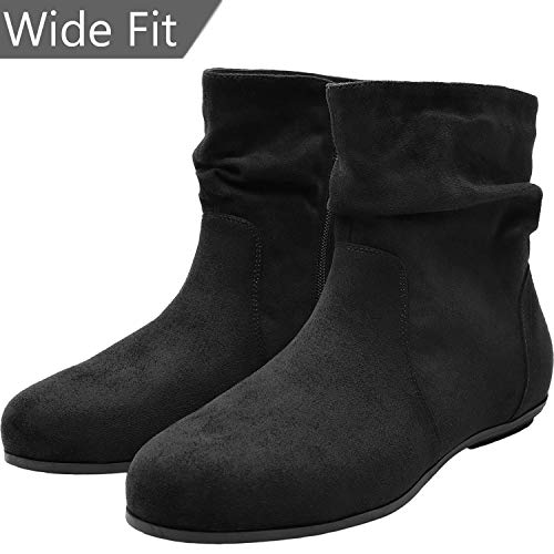 (Women's Wide Width Ankle Boots, Chunky Block Flat Boots Slip On Side Zipper Cozy Comfortable Shoes.(180706 Black 6.5WW))