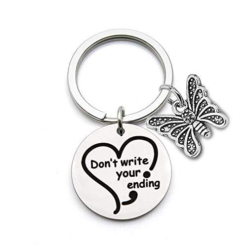 Well Get Charm (AKTAP Semicolon Jewelry Mental Health Awareness Keychain Don't Write Your Ending Butterfly Charm Gift (Don't Write Your Ending Keychain))