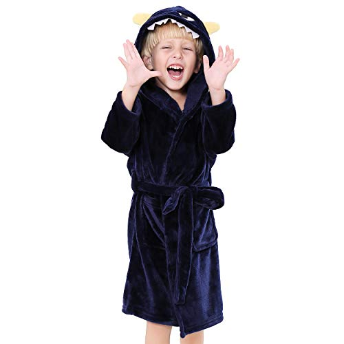 Kids Plush Hooded Robe - Monster Animal Fleece Bathrobe Animal Fleece Robe for Boys (Monster, 6-8)