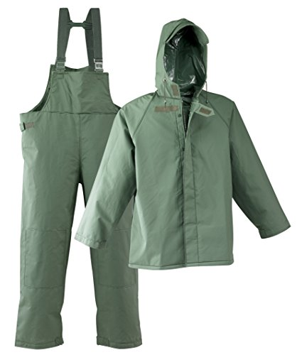 (Galeton 7954-4XL-GR 7954 Repel Rainwear 0.50 mm PVC 3-Layer Fisherman's Rain Suit, 4X-Large, Green)