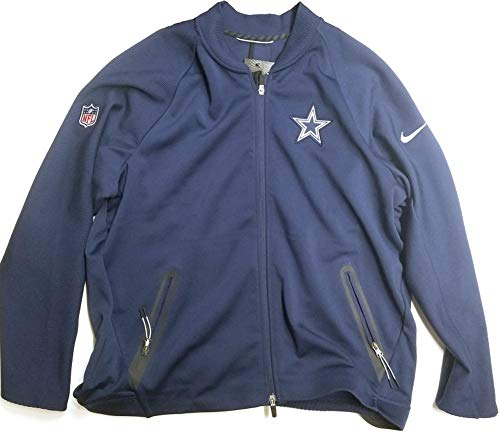 NIKE Men's Therma-Fit Dallas Cowboys Coach Sideline Full-Zip Jacket Navy Blue Size XXL
