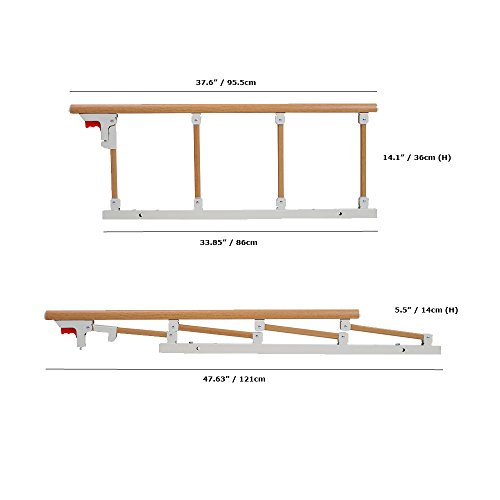 Bed Rail Safety Guard for Elderly, Adults, Toddler & Kids Assist Handle Bed Railing Folding Hospital Metal Bumper Bar (1 Pcs, Wooden Grain) by MYBOW (Image #2)