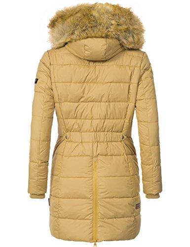 Invierno Mujer Deep Con Marikoo xxl Pelo Sand Abrigo 9 Capucha De Extralargo Xs Colores Knuddelmaus Guateado Para Sintético qxIxFS