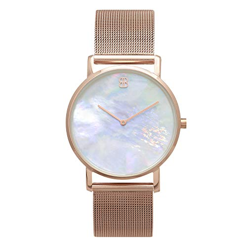 Byron Bond Mark 1 - Luxury 38mm Wrist Watches for Women & Men (Clerkenwell - Rose Gold Case with White Mother of Pearl Dial and Rose Gold Mesh Strap) ()
