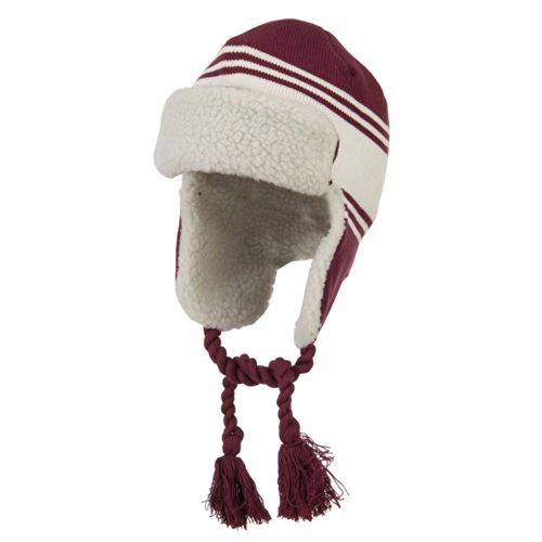 Contrast Jacquard Striped Knit Ski Hat - Maroon White OSFM