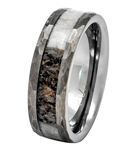 Deer Antler Ring in Tungsten Hammered Finish 8mm Comfort Fit Wedding Band (8) (Hunter And Deer Costume)