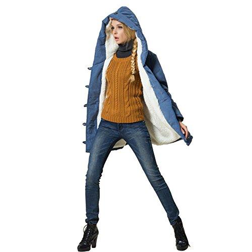 Larga Kuuboo Azul Manga para mujer Abrigo fww7E