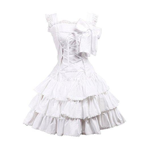 Victorian Kleid Nette Partiss Lolita Womens Suesse Rueschen Spitze Weiß Retro Bow PqBqROx6