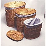 Household Essentials ML-5722 Woven-Willow Hampers with Lids and Lining, Set of 3