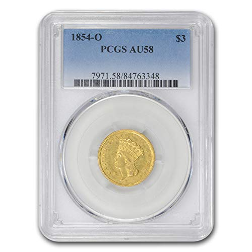 1854 O $3 Gold Princess AU-58 PCGS Gold AU-58 PCGS