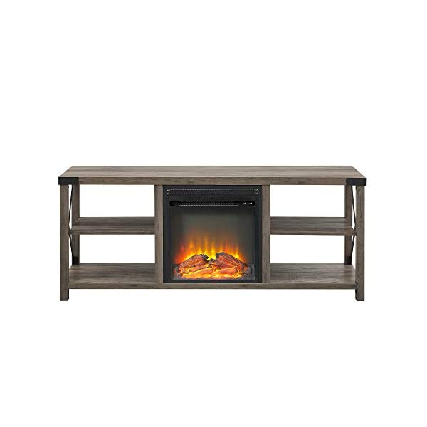 Walker Edison Faye Modern Farmhouse Metal X Fireplace TV Stand for TVs up to 65 Inches, 60 Inch, Grey
