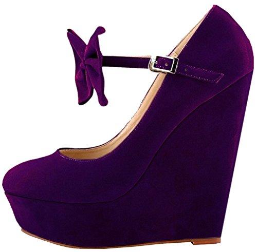 Calaier Damen Caeverything 14CM Keilabsatz Schnalle Pumps Schuhe Violett