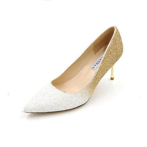Luz Platinum wedding 39 la madre tacones de shoes de 7cm degradado de boquilla 7 Fino Oro cm con tacones plata punta altos chica de con la degradado de con Bien wq1S4tA